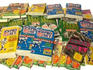NFL-Football-200-Cards-in-Wax-Packs-Topps-Score-Pro-Set-Upper-Deck-Old-Vintage
