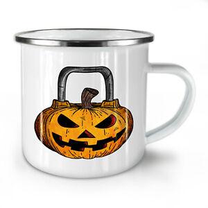 Halloween Workout Gym NEW Enamel Tea Mug 10 oz | Wellcoda