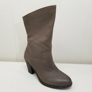 Lucky Brand 9M EMBRLEIGH Heeled Boots Brindle Pull On Mid Calf Leather 3 in Heel