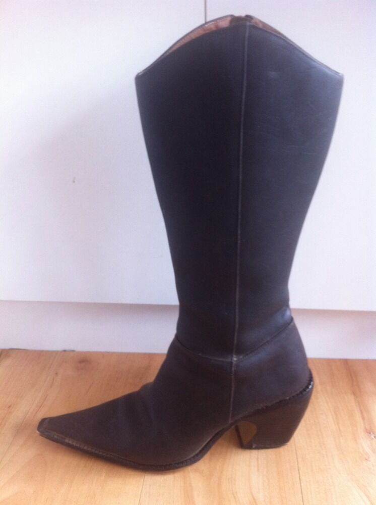 Ladies Dark Brown IRAMO Leather Cowboy AUS Boots AUS Cowboy Size 7 Pointy Toe Oilskin a7e04e