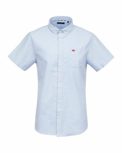 Shelikes Da Uomo Puro Cotone Colletto Manica Corta Estate Camicia Casual