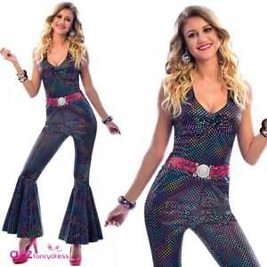Deluxe Ladies Dancing Queen 60s 70s Costume Retro Hippie Jumpsuit Fancy Dress