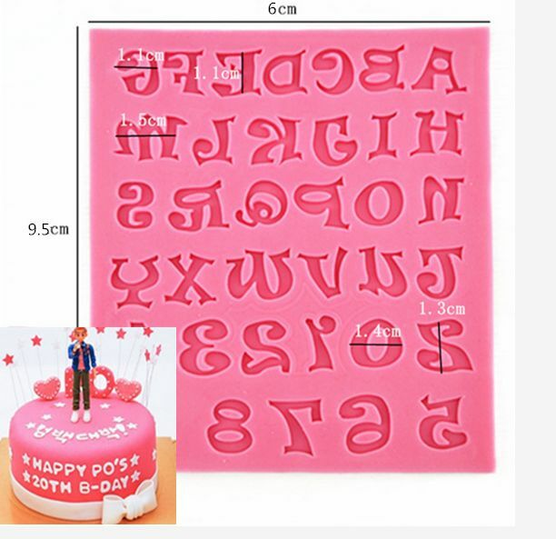 1PC Silicone Alphabet Letter Trays Chocolate Mold Cake Fondant Decorating Tools