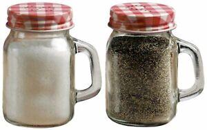 Circleware Mini Mason Jar Mug Glass Salt & Pepper Shakers