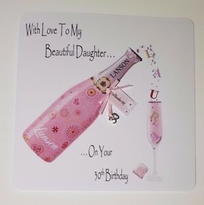 Image Is Loading Personalised 30th Birthday Card Daughter Pink Champagne 18th
