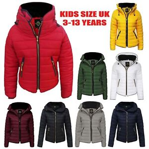 a45a9604b Girls Jacket Kids Padded Puffer Bubble Fur Collar Quilted Warm Thick ...