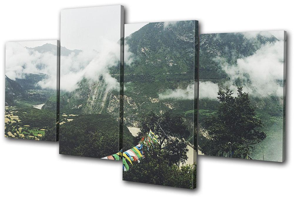 Mountains Nature Mist Landscapes MULTI TELA parete arte arte arte foto stampa dd43e3