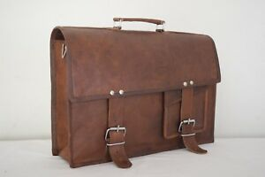 576cb8bb9f42 Real Leather Briefcase Messenger Bag 15 Inch Laptop Satchel ...