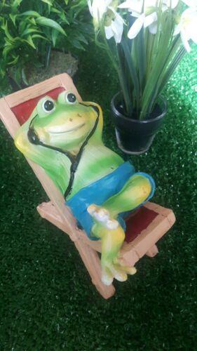 Frosch Liegestuhl Deko Figur Geburtstag Gechenk Garten Balkon Tier Skulptur