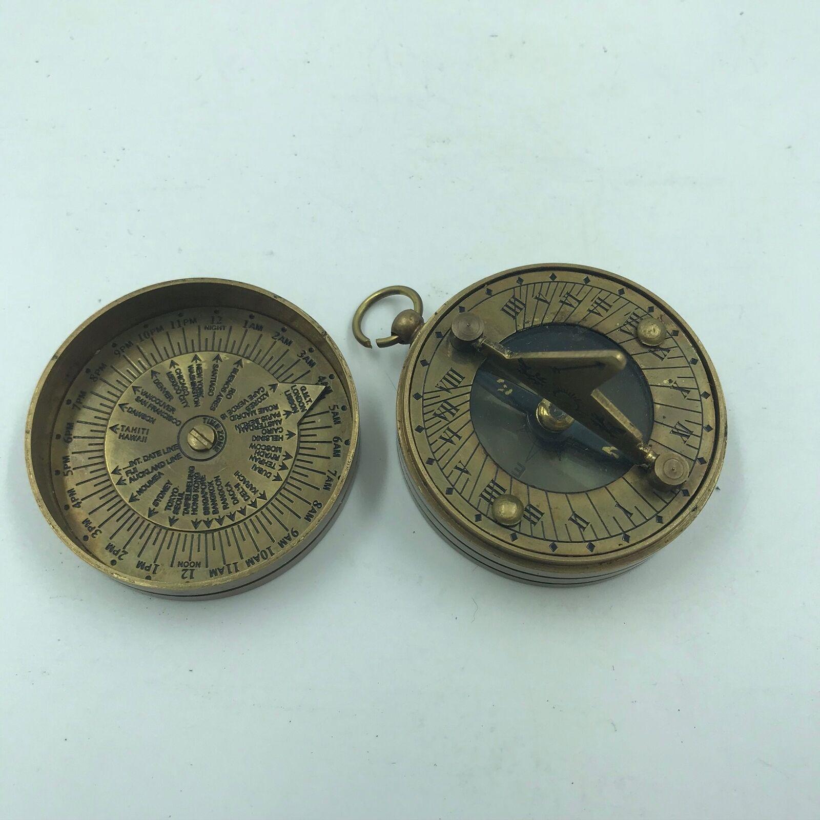 Nautical Sundial Compass Gift Brass Antique Pocket Push Button Sundial Compass.
