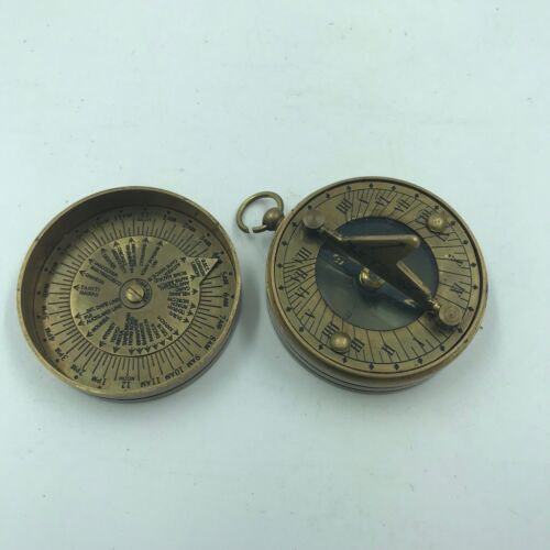 Nautical Antique Brass Dollond London Sundial Compass Vintage Solid Brass