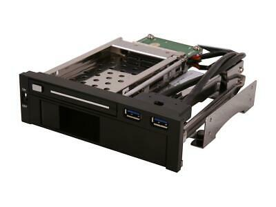 "Syba USB 3.0 5.25/"" Bay Tray Less Mobile Rack for 3.5/"" 2.5/"" Sata HDD Hard Drive"