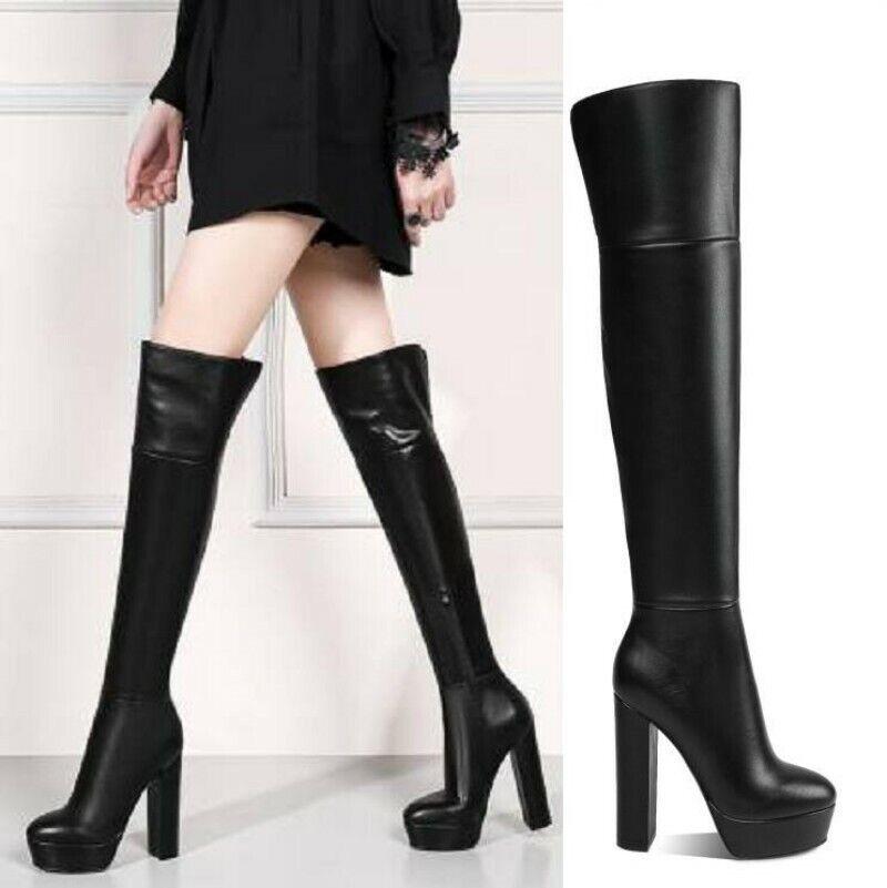 Leder Europa Damenstiefel Langschaft Gothic Overknee Stiefel 36 37 38 39 Gotisch