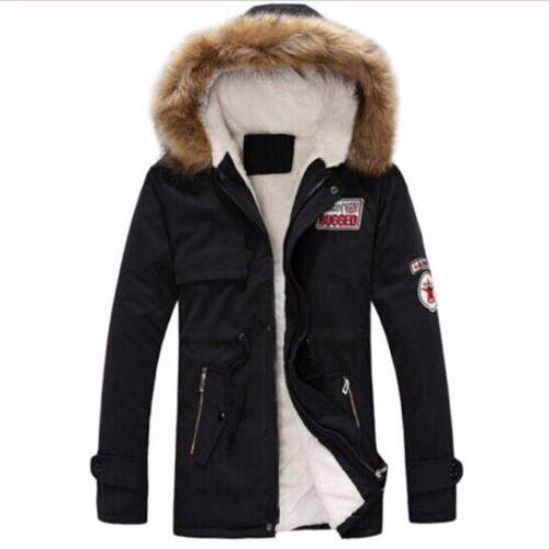 Men/'s Coat Warm Fur Collar Hooded Parka Winter Thick  Coat Outwear Down Jacket