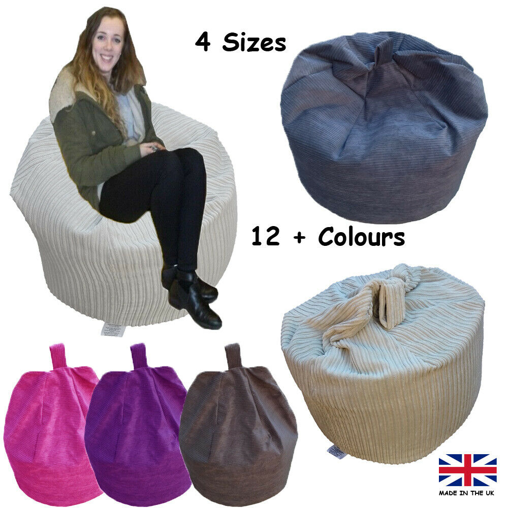 Hippo Bean Bag Chair /& Footstool Grey, Bean Bag Chair Ergonomic Design for Hours of Relaxation Jumbo Cord The Rhino Gaming Lounger Indoor Living Room