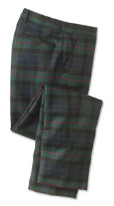 Orvis-Tartan-Holiday-Dress-Plaid-Wool-Pants-Slim-fit-Trousers-42X27-NWT-189