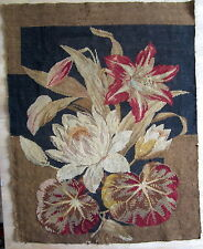 """Antique Victorian Needlepoint Tapestry section LILLIES red black brown 22"""" x 28"""""""