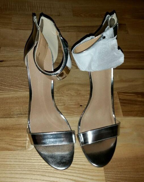 LiKing Damen Sandalen Sandaletten High Heels Silber Größe 41