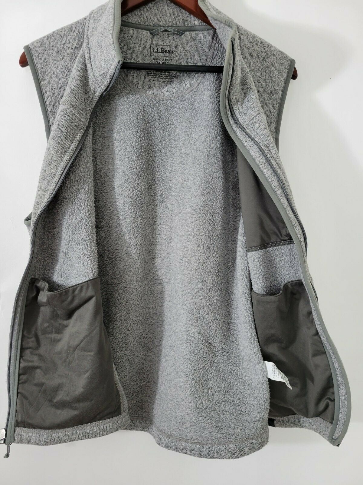 L.L. BEAN Sweater Vest Slightly Fitted Gray Heath… - image 3
