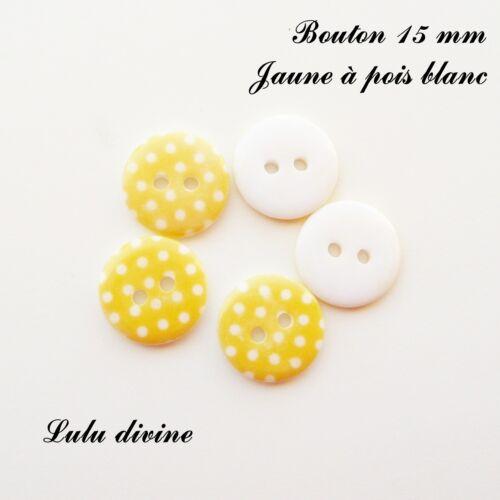 Jaune à pois blanc Lot de 5 Boutons Rond à 2 trous de 15 mm