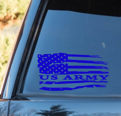 US AIR FORCE weathered American Flag distressed vinyl decal Military 10/% donated