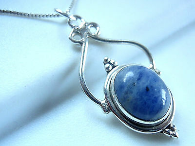 Sodalite 925 Sterling Silver Pendant Accented Imported from India New