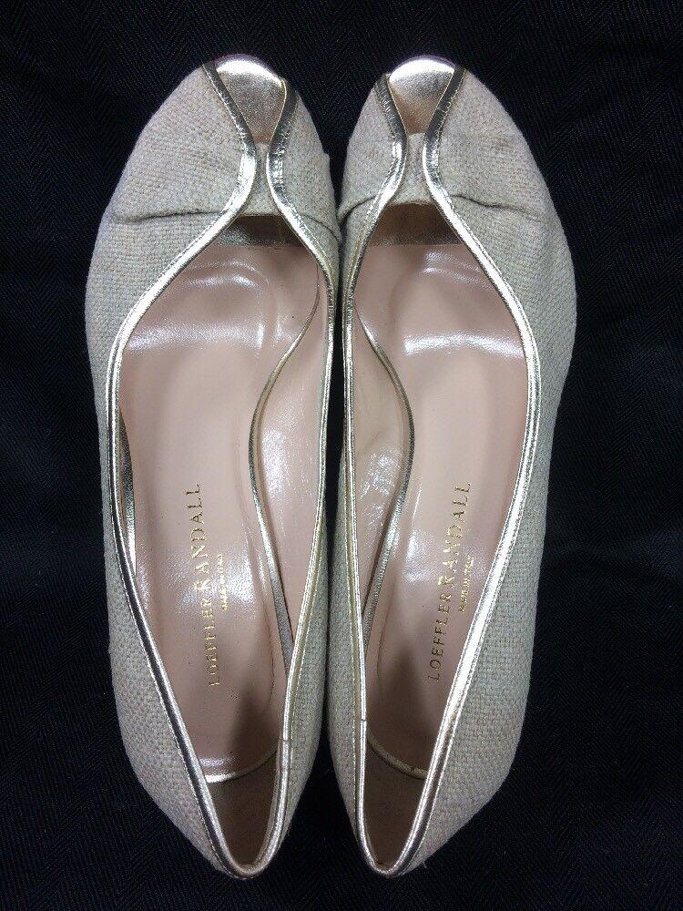 NEW  365 Loeffler Randall Italian Linen Peep-Toe Pump Pump Pump 2  Heel Silber Trim Nude 7 2841c8