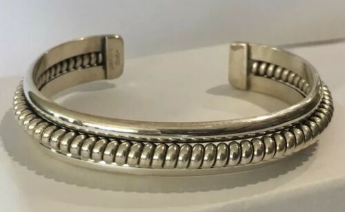 """Vintage Navajo Sterling Cuff Bracelet Signed """"Jahe"""" ~NICE~"""