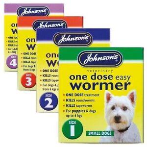 Johnson-039-s-Una-Dosis-Wormer-perro-comprimidos-de-tratamiento-vermifuga-facil