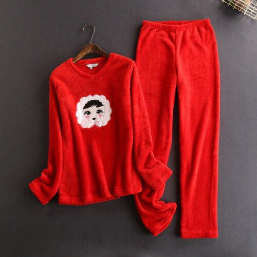 Damen Fleece Pyjama Schlafanzug Warm Kuschelig Dick Winter Nachtwäsche Lounge