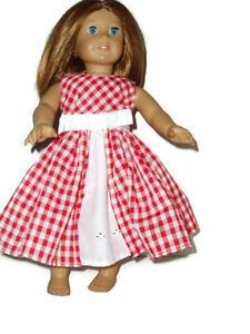 "Red Gingham Easter Spring Dress Fits American Girl 18"" Doll Clothes"