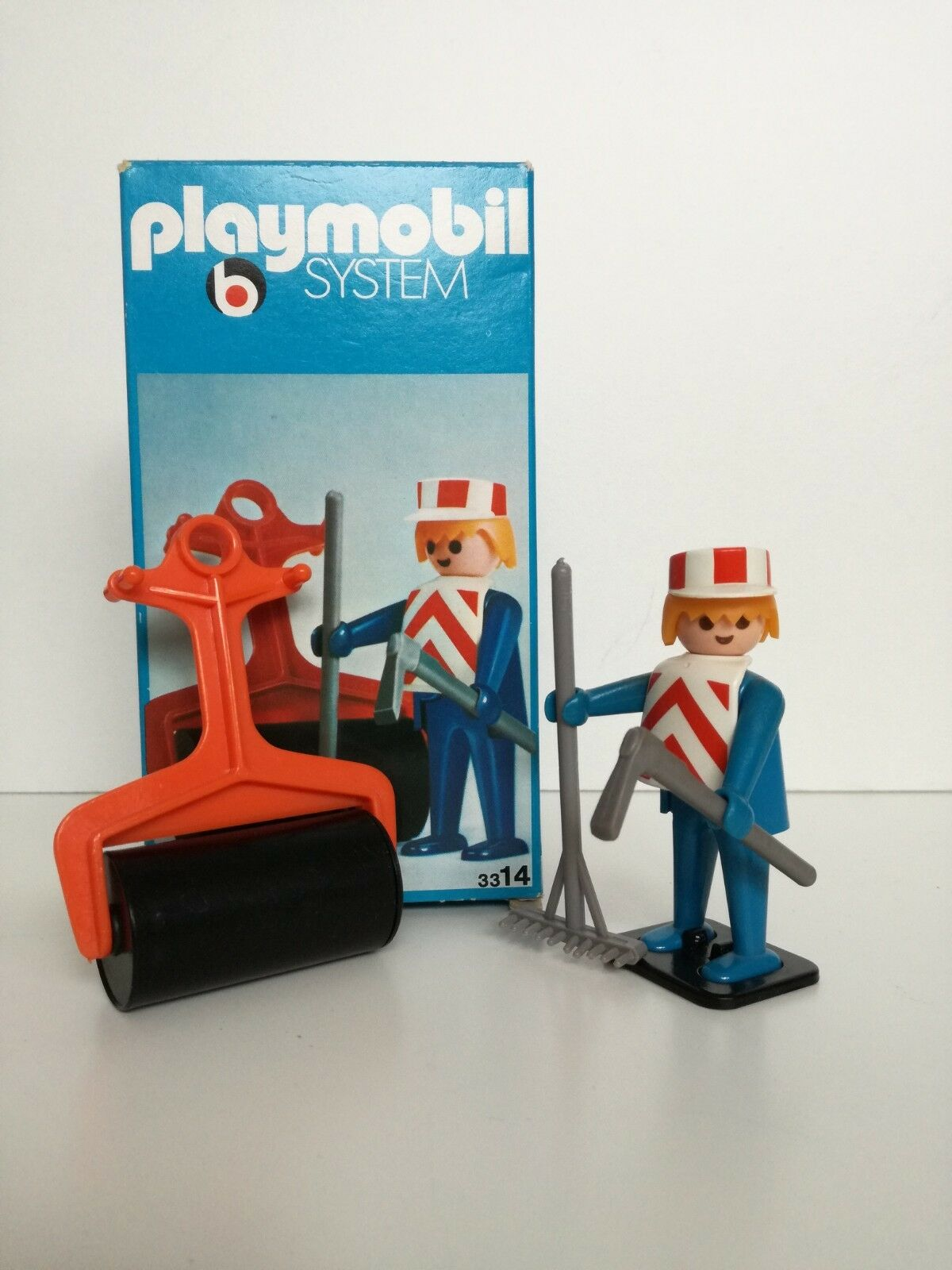 Playmobil 3314 v1 -  Construction worker with wals (Klicky OVP LineArt Box)