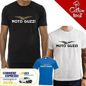 T-Shirt-Moto-Guzzi-uomo-Maglia-moto-nera-cotone-100-maglietta