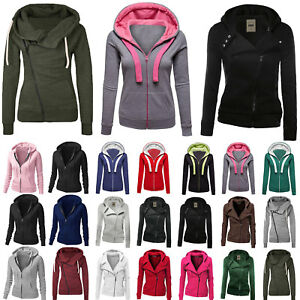 uk availability bade2 54e0a Details zu Frauen Winter Plain Reißverschluss Fleece Sweatshirt Damen  Mantel Jacke Hoodies