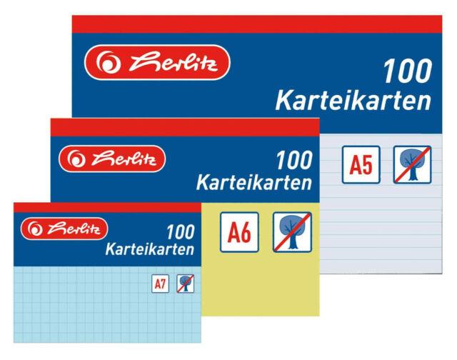 500 Herlitz Karteikarten DIN A8 Farbe blanko wei/ß