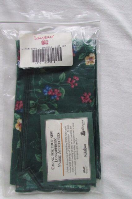 2 Longaberger  Emerald Vine Napkins / Liner #2363910  NIP