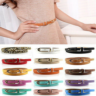 Fashion Women Lady Multicolor Waistband PU Leather Thin Skinny Belt Buckle Waist