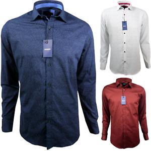 Herren-Hemd-mit-Muster-Drei-Farben-Regular-fit-Langarm-Baumwolle-M-3XL