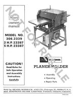 Craftsman 306.2339 Planer-molder [remake] Instructions