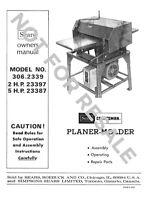 Craftsman 306.2339 Planer-molder [remake] Instructions
