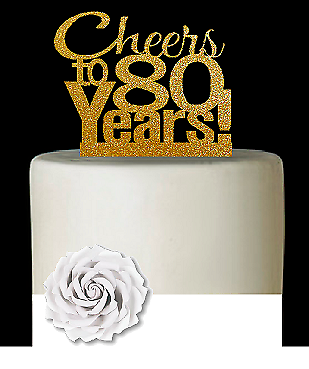 Anniversary Cheers Gold Glitter Cake Decoration Topper 80th Birthday