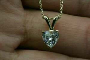 14k-Yellow-Gold-Over-Diamond-Necklace-1-CT-Heart-Shape-Diamond-Solitaire-Pendant