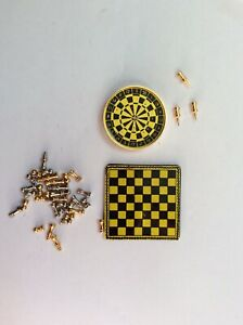 Lot-of-Dolls-House-Emporium-Chess-Set-and-Darts-Dartboard-Magnetic-Metal-12th