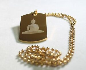 BUDDHA IMAGE THICK DOG TAG STAINLESS STEEL NECKLACE COLOR GOLD IPG BALL CHAIN
