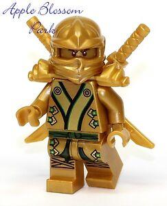 NEW-Lego-Ninjago-Green-amp-GOLD-NINJA-MINIFIG-Lloyd-Minifigure-Katana-Swords-70505