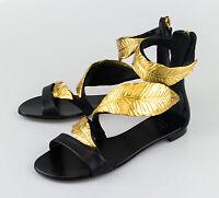 New. Giuseppe Zanotti Roll Jeti Black Leather Sandals Shoes 9 Us 39 Eu $1300 on sale