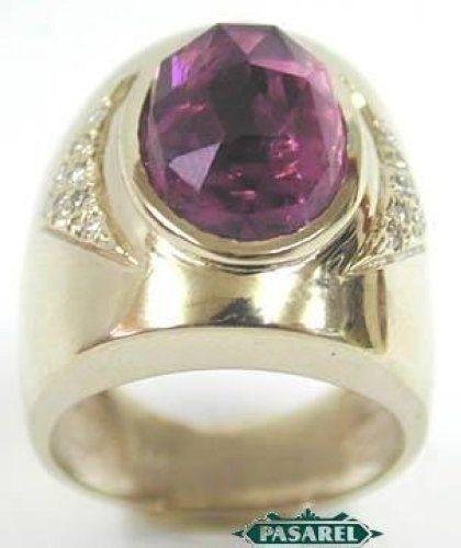 New 14k White gold Diamond and Pink Tourmaline Ring