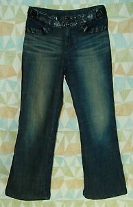 BLACK-PVC-Jeweled-Pockets-LOW-Flare-Leg-Thick-Insulated-COLD-Weather-JEANS-S