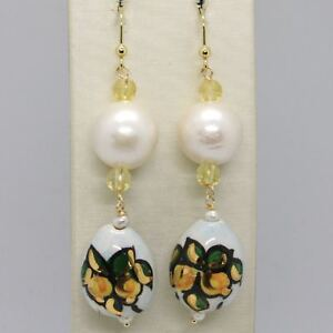 Yellow-Gold-Earrings-750-18K-Pearls-Fw-And-Drop-Hand-Painted-by-Made-IN-Italy