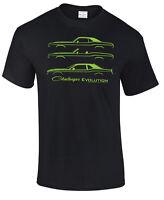 1970 2017 Dodge Challenger Evolution T-shirt Classic Srt8 Hemi R/t Hellcat E